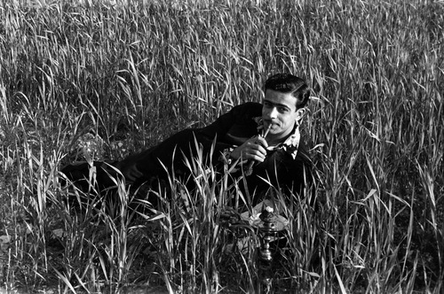 """Hashem el Madani, Promenades: Anonymous, Posing in the Wheat Fields by the Train Tracks, Ain el Helweh, Saida"" by Akram  Zaatari"